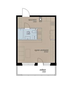 Планировка 1-комнатной квартиры в Аалто